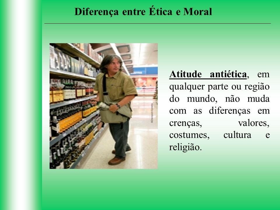 Atitude antiética, em qualquer parte ou região do mundo, não muda com as diferenças em crenças, valores, costumes, cultura e religião. Diferença entre