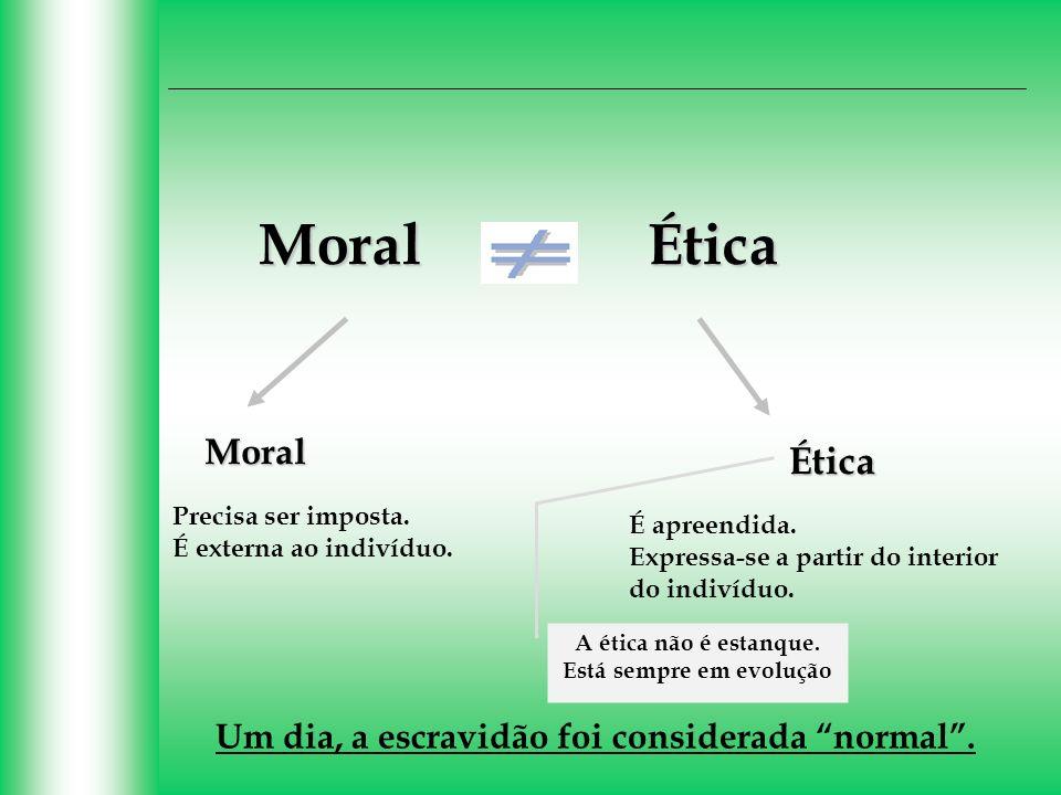 ÉticaMoral Ética Moral Precisa ser imposta. É externa ao indivíduo. É apreendida. Expressa-se a partir do interior do indivíduo. A ética não é estanqu