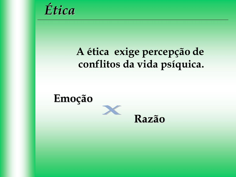 A ética exige percepção de conflitos da vida psíquica. Emoção Razão Ética