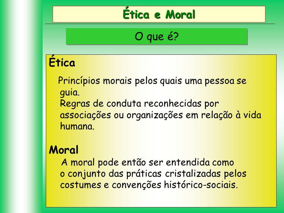 Ética e Moral O que é? Ética Princípios morais pelos quais uma pessoa se guia. Regras de conduta reconhecidas por associações ou organizações em relaç