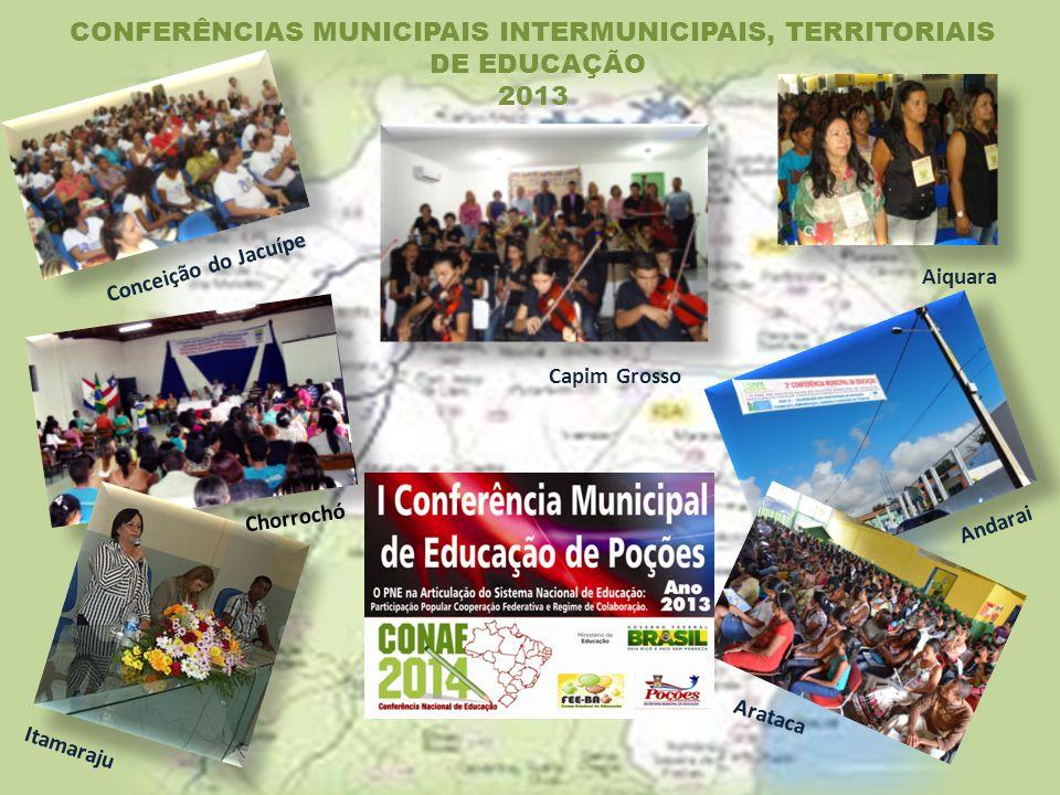 Itamaraju Aiquara Chorrochó Capim Grosso Andarai Conceição do Jacuípe CONFERÊNCIAS MUNICIPAIS INTERMUNICIPAIS, TERRITORIAIS DE EDUCAÇÃO 2013 Arataca