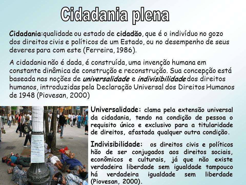 Cidadania:qualidade ou estado de cidadão, que é o indivíduo no gozo dos direitos civis e políticos de um Estado, ou no desempenho de seus deveres para com este (Ferreira, 1986).