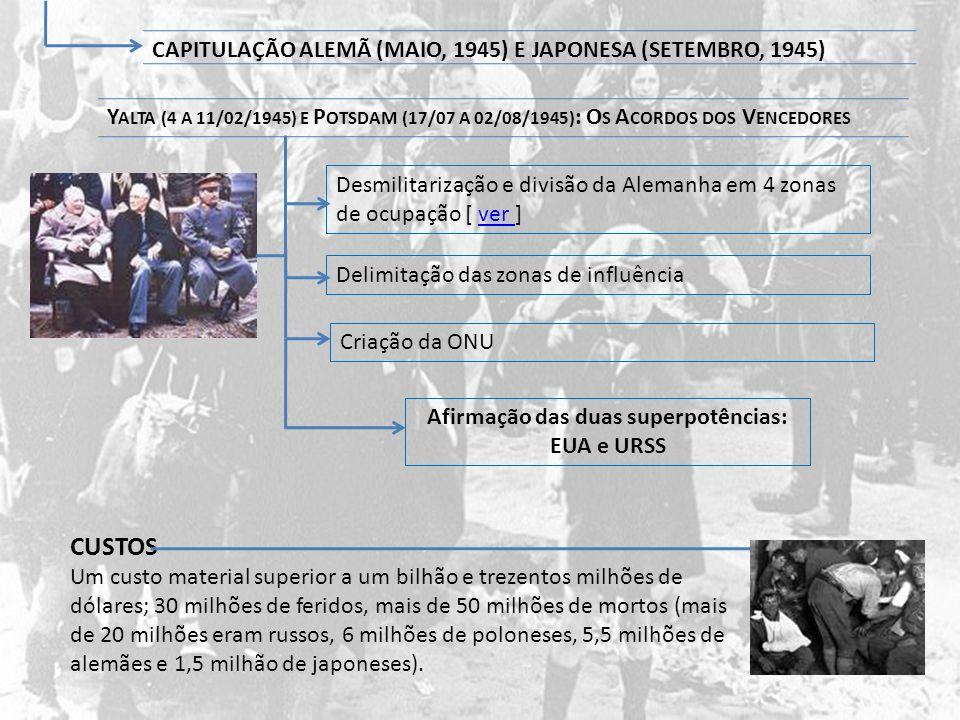 Delimitação das zonas de influência Y ALTA (4 A 11/02/1945) E P OTSDAM (17/07 A 02/08/1945) : O S A CORDOS DOS V ENCEDORES CAPITULAÇÃO ALEMÃ (MAIO, 19