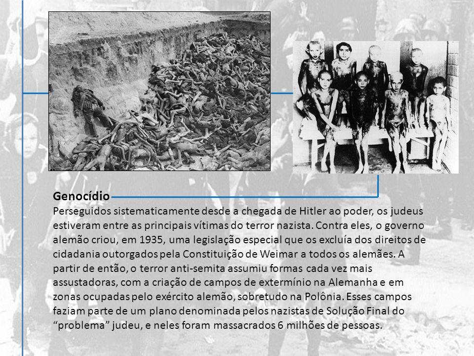 Genocídio Perseguidos sistematicamente desde a chegada de Hitler ao poder, os judeus estiveram entre as principais vítimas do terror nazista. Contra e