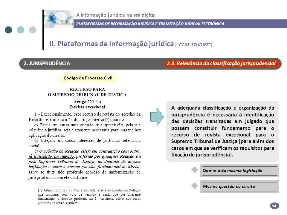 A informação jurídica na era digital PLATAFORMAS DE INFORMAÇÃO JURÍDICA E TRAMITAÇÃO JUDICIAL ELETRÓNICA 14 2.