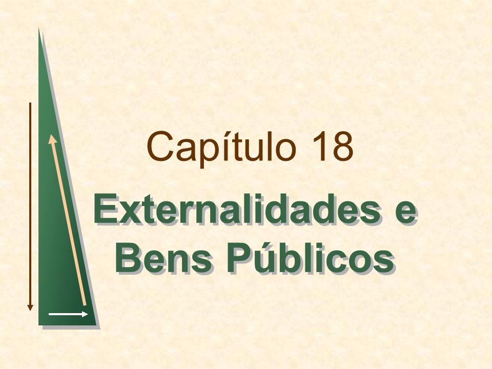 Capítulo 18Slide 2 Tópicos para Discussão Externalidades Formas de Corrigir Falhas de Mercado Externalidades e Direitos de Propriedade Recursos de Propriedade Comum