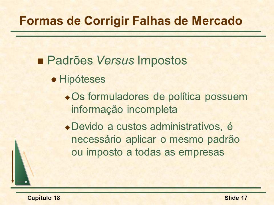Capítulo 18Slide 17 Padrões Versus Impostos Hipóteses Os formuladores de política possuem informação incompleta Devido a custos administrativos, é nec