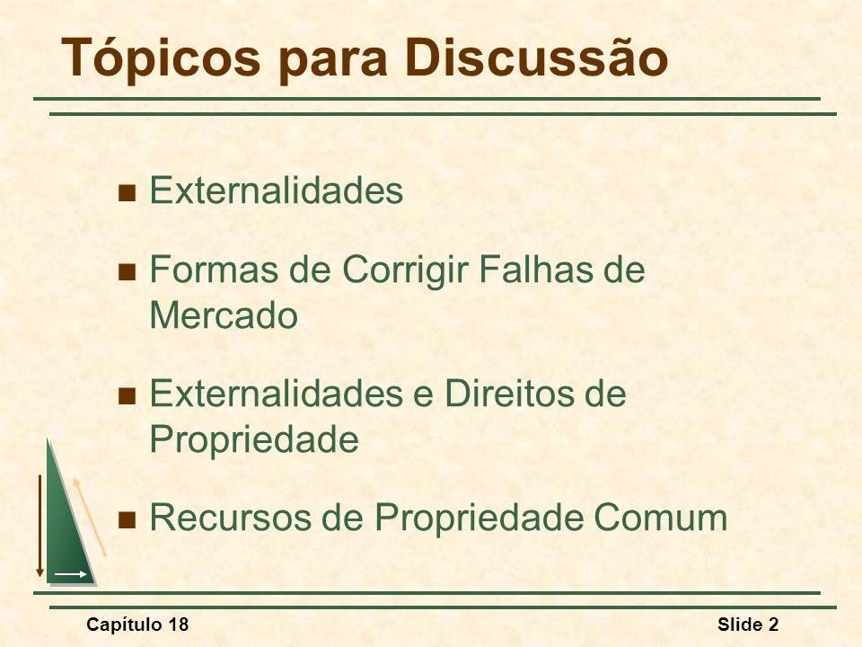 Capítulo 18Slide 2 Tópicos para Discussão Externalidades Formas de Corrigir Falhas de Mercado Externalidades e Direitos de Propriedade Recursos de Pro