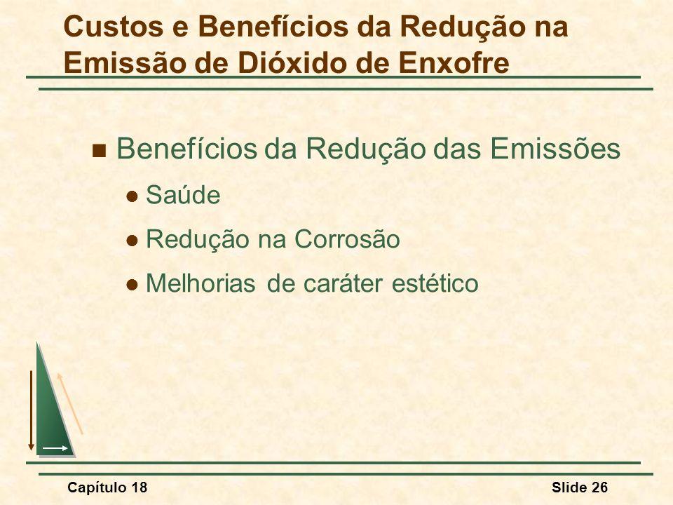 Capítulo 18Slide 26 Benefícios da Redução das Emissões Saúde Redução na Corrosão Melhorias de caráter estético Custos e Benefícios da Redução na Emiss