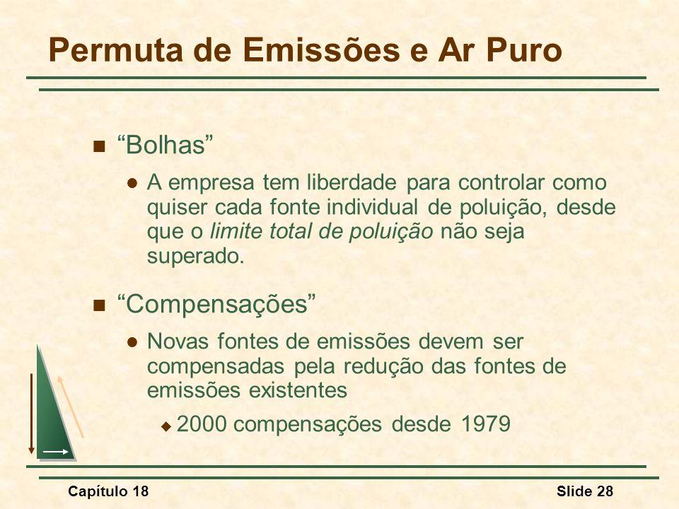 Capítulo 18Slide 28 Permuta de Emissões e Ar Puro Bolhas A empresa tem liberdade para controlar como quiser cada fonte individual de poluição, desde q