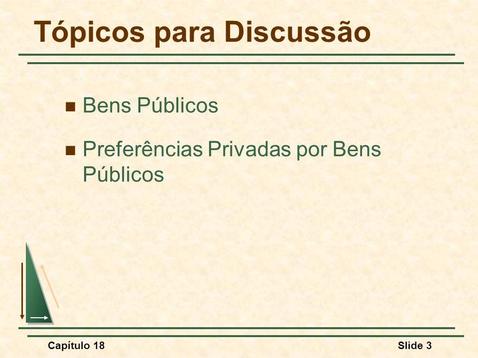 Capítulo 18Slide 54 Bens Públicos Nem todos os bens produzidos pelo governo são bens públicos Alguns desses bens são rivais ou excludentes: Educação Parques