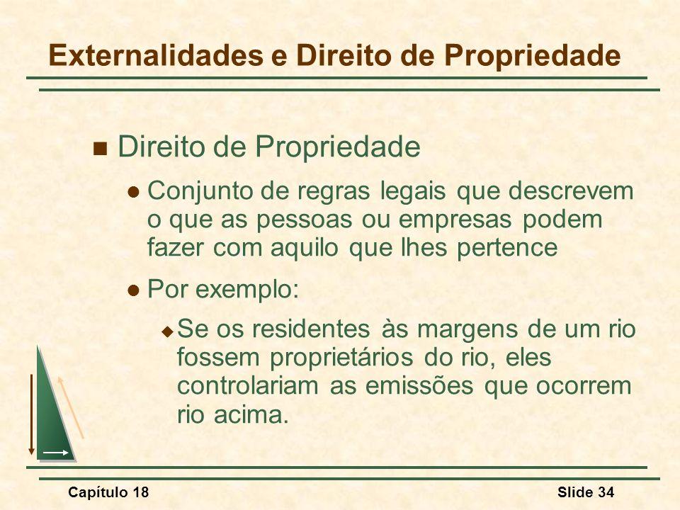 Capítulo 18Slide 34 Externalidades e Direito de Propriedade Direito de Propriedade Conjunto de regras legais que descrevem o que as pessoas ou empresa