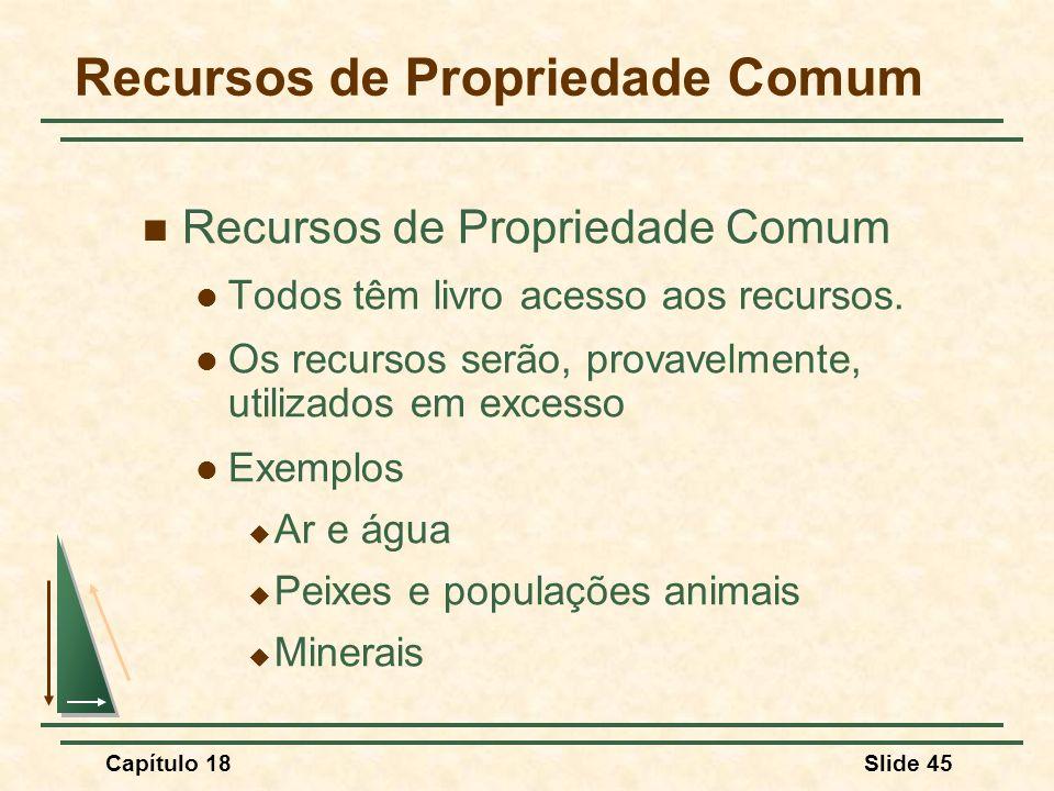 Capítulo 18Slide 45 Recursos de Propriedade Comum Todos têm livro acesso aos recursos. Os recursos serão, provavelmente, utilizados em excesso Exemplo