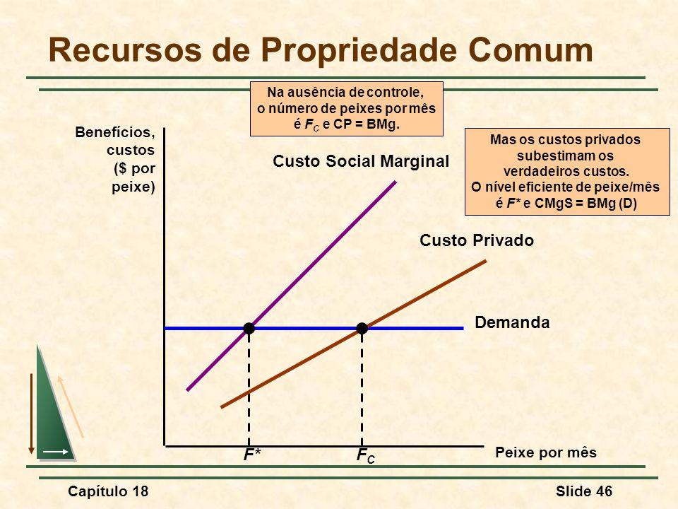 Capítulo 18Slide 46 Recursos de Propriedade Comum Peixe por mês Benefícios, custos ($ por peixe) Demanda Mas os custos privados subestimam os verdadei