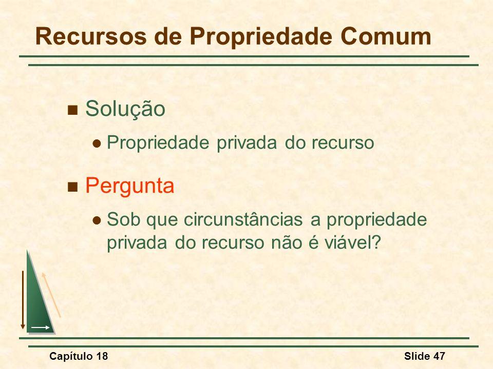 Capítulo 18Slide 47 Recursos de Propriedade Comum Solução Propriedade privada do recurso Pergunta Sob que circunstâncias a propriedade privada do recu