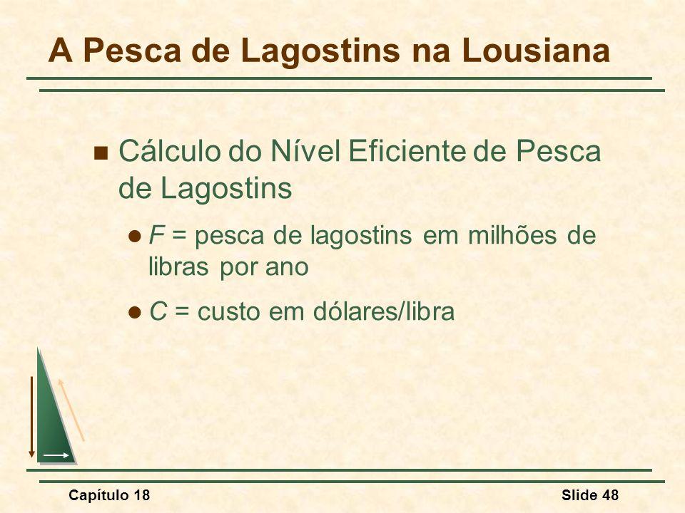 Capítulo 18Slide 48 A Pesca de Lagostins na Lousiana Cálculo do Nível Eficiente de Pesca de Lagostins F = pesca de lagostins em milhões de libras por