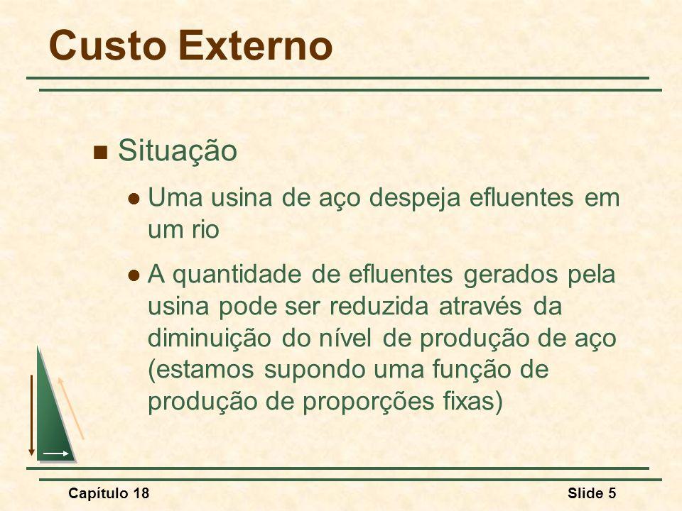 Capítulo 18Slide 5 Custo Externo Situação Uma usina de aço despeja efluentes em um rio A quantidade de efluentes gerados pela usina pode ser reduzida