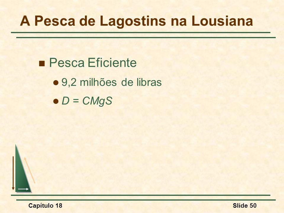 Capítulo 18Slide 50 A Pesca de Lagostins na Lousiana Pesca Eficiente 9,2 milhões de libras D = CMgS