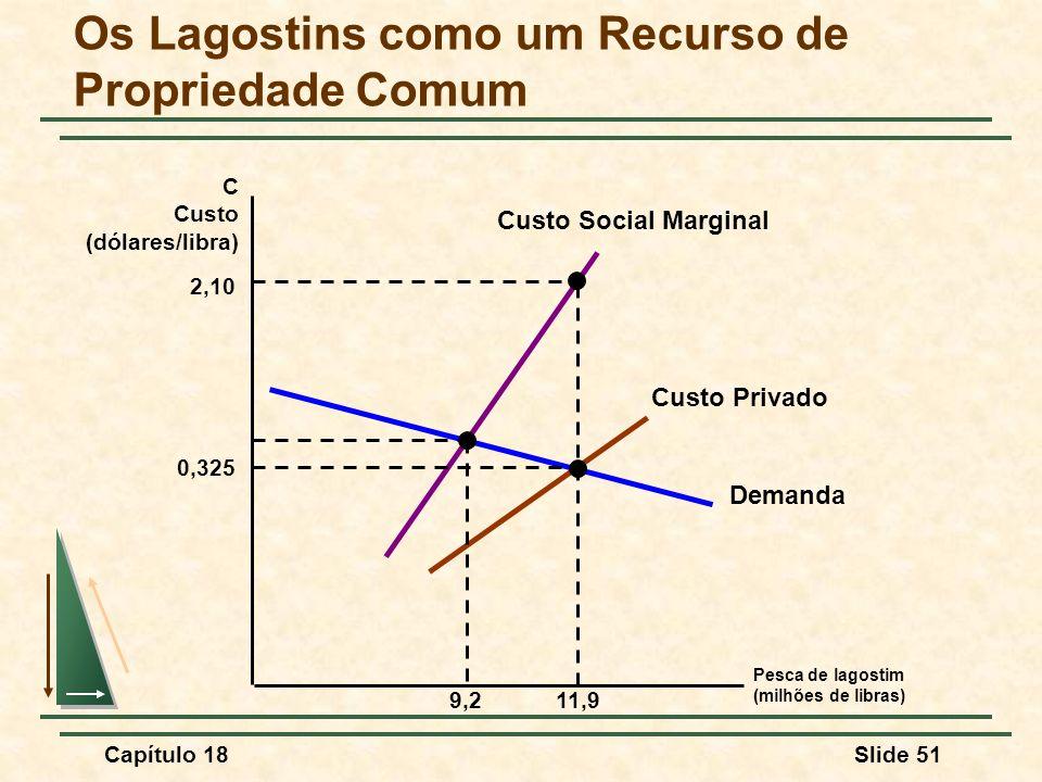 Capítulo 18Slide 51 Pesca de lagostim (milhões de libras) C Custo (dólares/libra) Demanda Custo Social Marginal Custo Privado Os Lagostins como um Rec