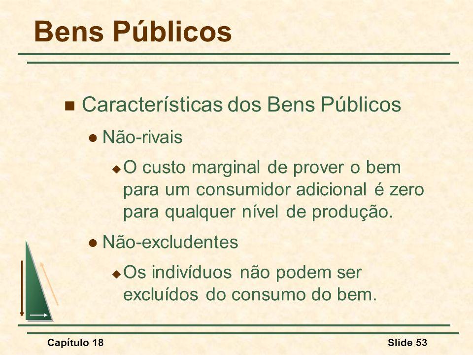 Capítulo 18Slide 53 Bens Públicos Características dos Bens Públicos Não-rivais O custo marginal de prover o bem para um consumidor adicional é zero pa