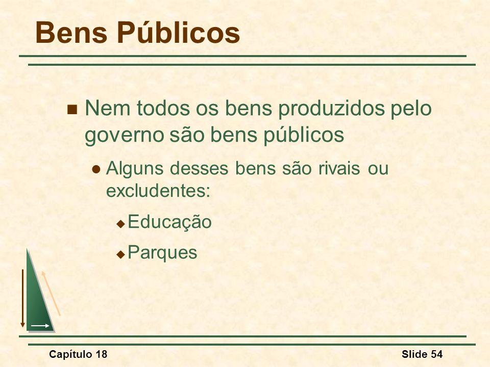 Capítulo 18Slide 54 Bens Públicos Nem todos os bens produzidos pelo governo são bens públicos Alguns desses bens são rivais ou excludentes: Educação P
