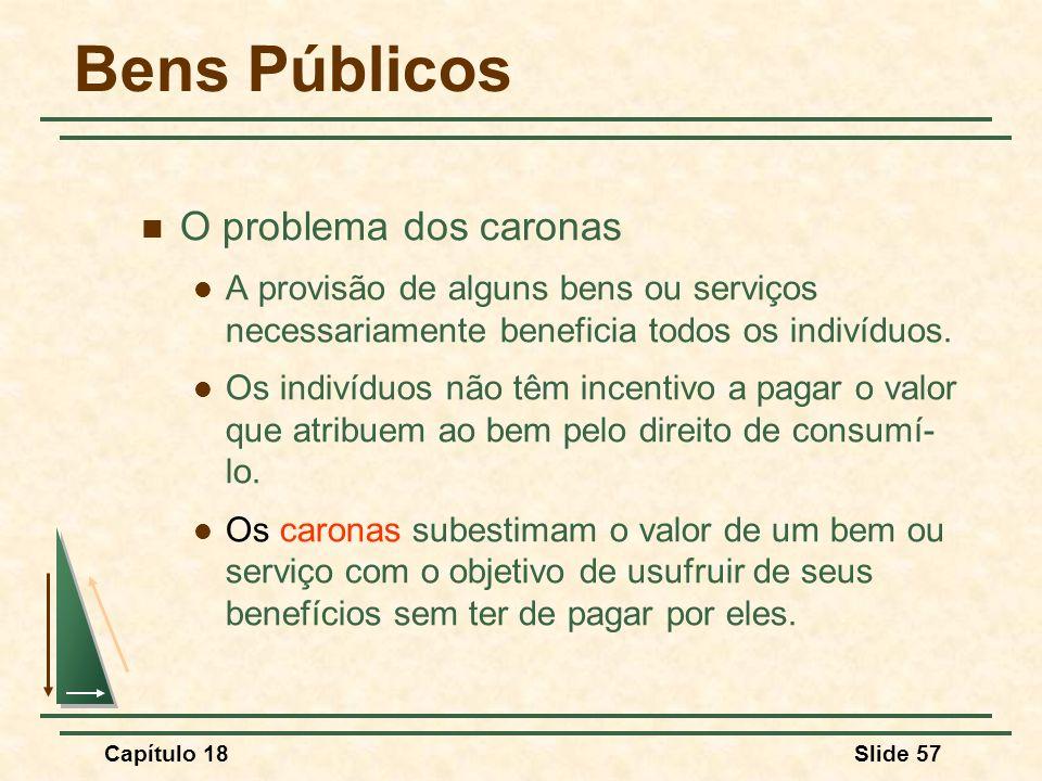 Capítulo 18Slide 57 Bens Públicos O problema dos caronas A provisão de alguns bens ou serviços necessariamente beneficia todos os indivíduos. Os indiv
