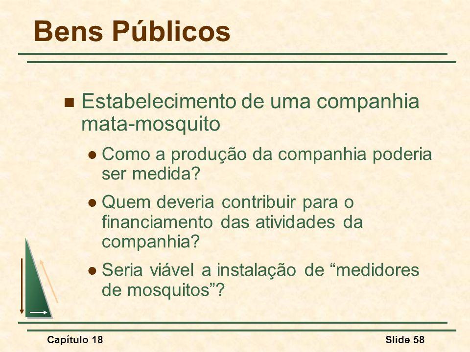 Capítulo 18Slide 58 Bens Públicos Estabelecimento de uma companhia mata-mosquito Como a produção da companhia poderia ser medida? Quem deveria contrib