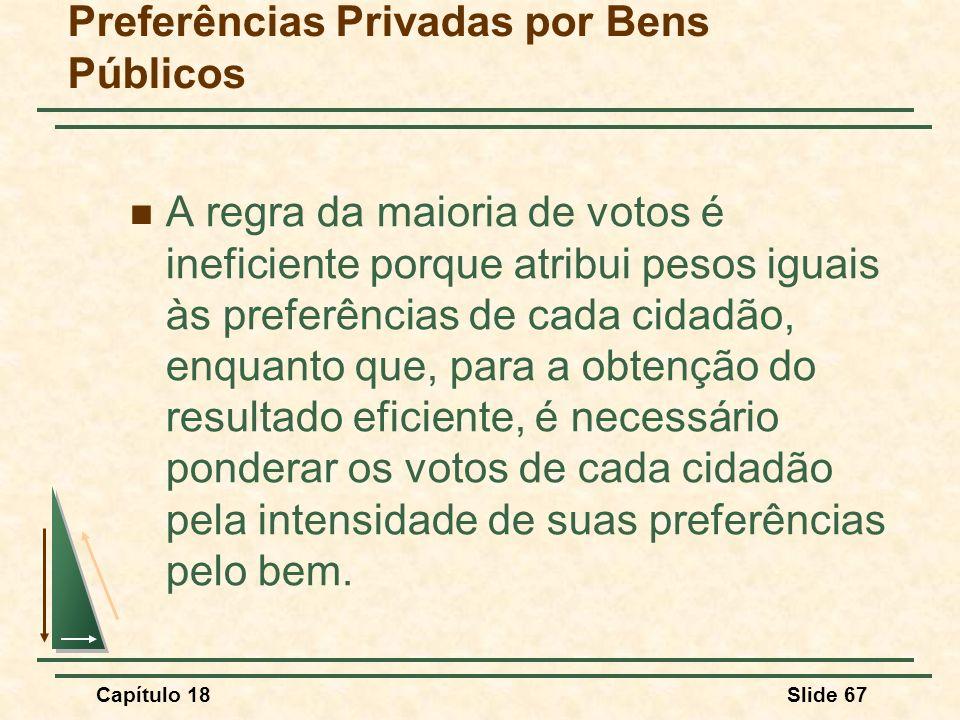 Capítulo 18Slide 67 A regra da maioria de votos é ineficiente porque atribui pesos iguais às preferências de cada cidadão, enquanto que, para a obtenç