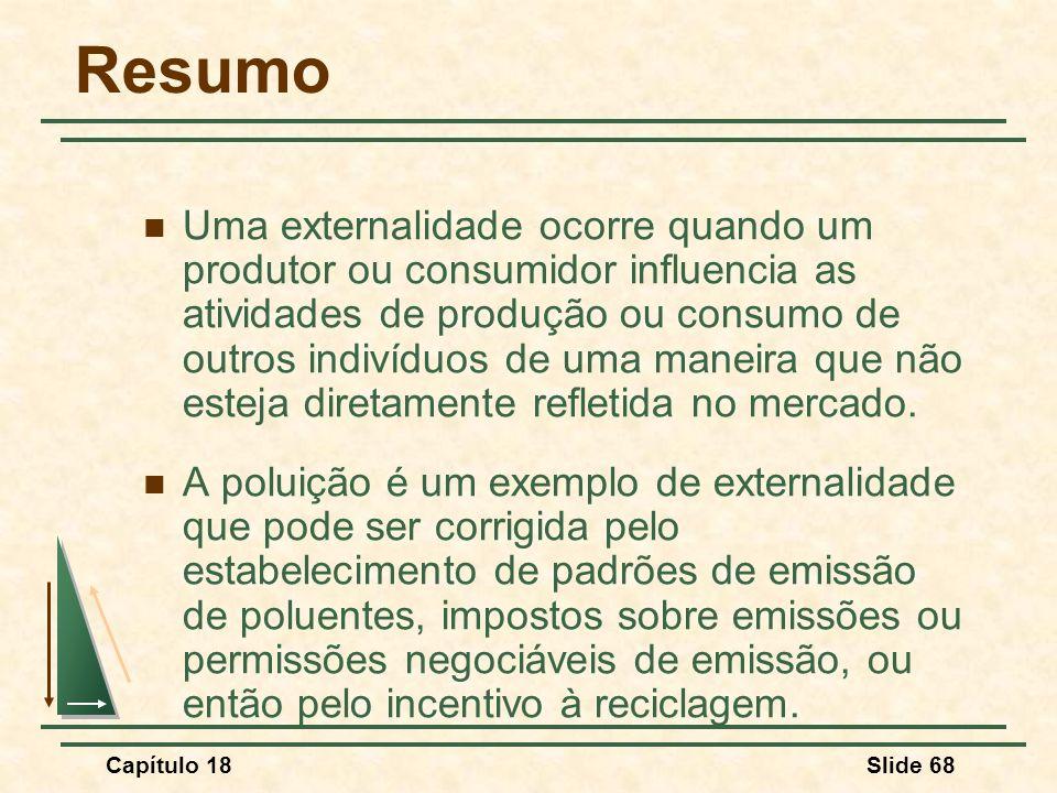 Capítulo 18Slide 68 Resumo Uma externalidade ocorre quando um produtor ou consumidor influencia as atividades de produção ou consumo de outros indivíd