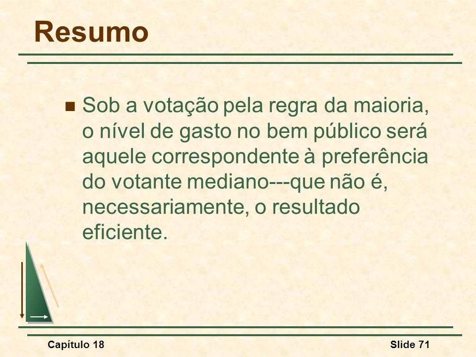 Capítulo 18Slide 71 Resumo Sob a votação pela regra da maioria, o nível de gasto no bem público será aquele correspondente à preferência do votante me