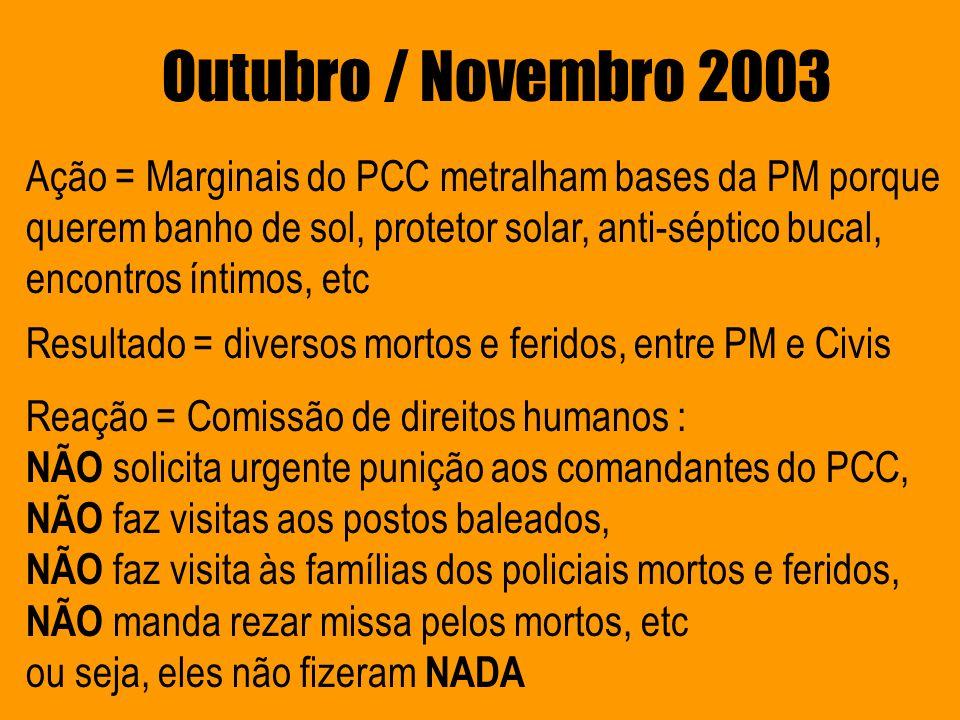 Outubro / Novembro 2003 Ação = Marginais do PCC metralham bases da PM porque querem banho de sol, protetor solar, anti-séptico bucal, encontros íntimo