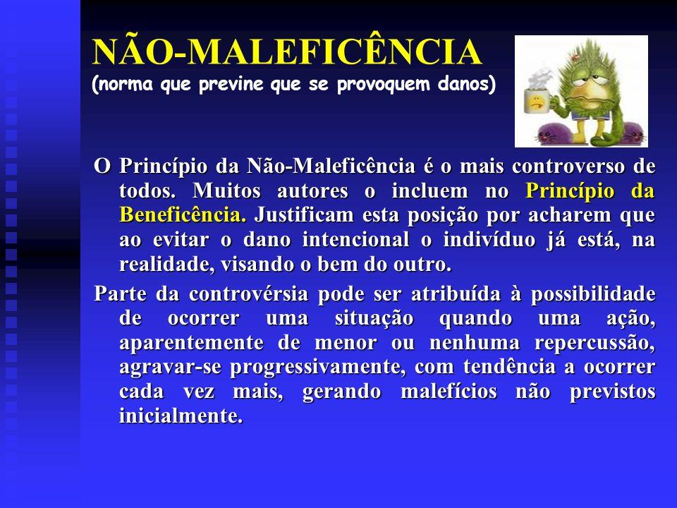 NÃO-MALEFICÊNCIA (norma que previne que se provoquem danos) O Princípio da Não-Maleficência é o mais controverso de todos.