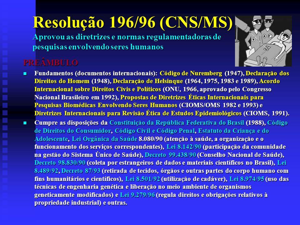 Resolução 196/96 (CNS/MS) Aprovou as diretrizes e normas regulamentadoras de pesquisas envolvendo seres humanos PREÂMBULO Fundamentos (documentos internacionais): Código de Nuremberg (1947), Declaração dos Direitos do Homem (1948), Declaração de Helsinque (1964, 1975, 1983 e 1989), Acordo Internacional sobre Direitos Civis e Políticos (ONU, 1966, aprovado pelo Congresso Nacional Brasileiro em 1992), Propostas de Diretrizes Éticas Internacionais para Pesquisas Biomédicas Envolvendo Seres Humanos (CIOMS/OMS 1982 e 1993) e Diretrizes Internacionais para Revisão Ética de Estudos Epidemiológicos (CIOMS, 1991).