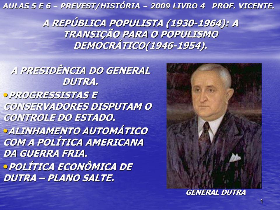 1 A REPÚBLICA POPULISTA (1930-1964): A TRANSIÇÃO PARA O POPULISMO DEMOCRÁTICO(1946-1954). A PRESIDÊNCIA DO GENERAL DUTRA. PROGRESSISTAS E CONSERVADORE