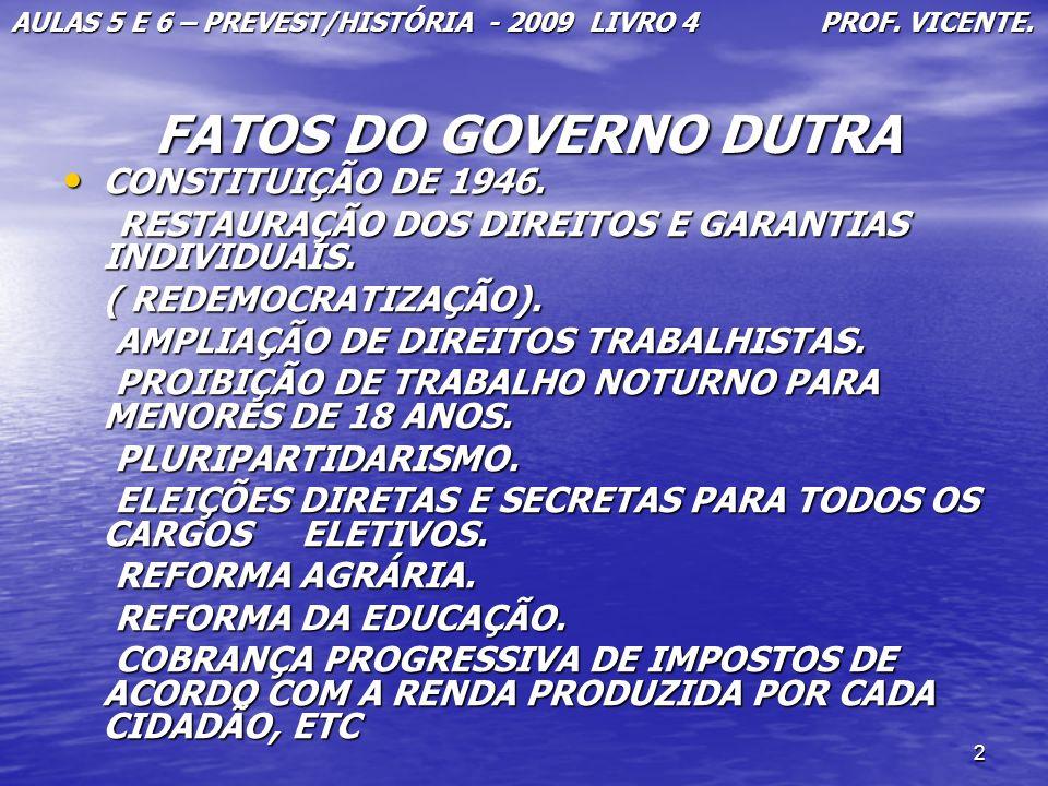 2 FATOS DO GOVERNO DUTRA FATOS DO GOVERNO DUTRA CONSTITUIÇÃO DE 1946. CONSTITUIÇÃO DE 1946. RESTAURAÇÃO DOS DIREITOS E GARANTIAS INDIVIDUAIS. RESTAURA