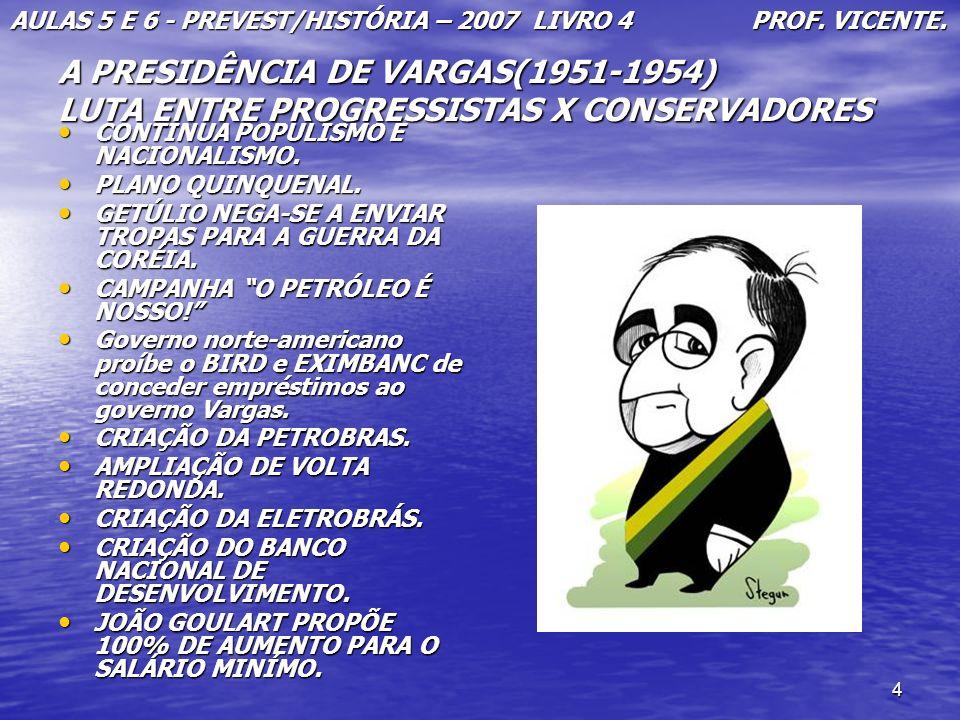 4 A PRESIDÊNCIA DE VARGAS(1951-1954) LUTA ENTRE PROGRESSISTAS X CONSERVADORES CONTINUA POPULISMO E NACIONALISMO. CONTINUA POPULISMO E NACIONALISMO. PL