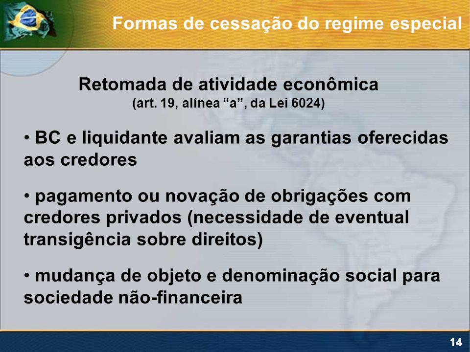 14 Retomada de atividade econômica (art. 19, alínea a, da Lei 6024) BC e liquidante avaliam as garantias oferecidas aos credores pagamento ou novação