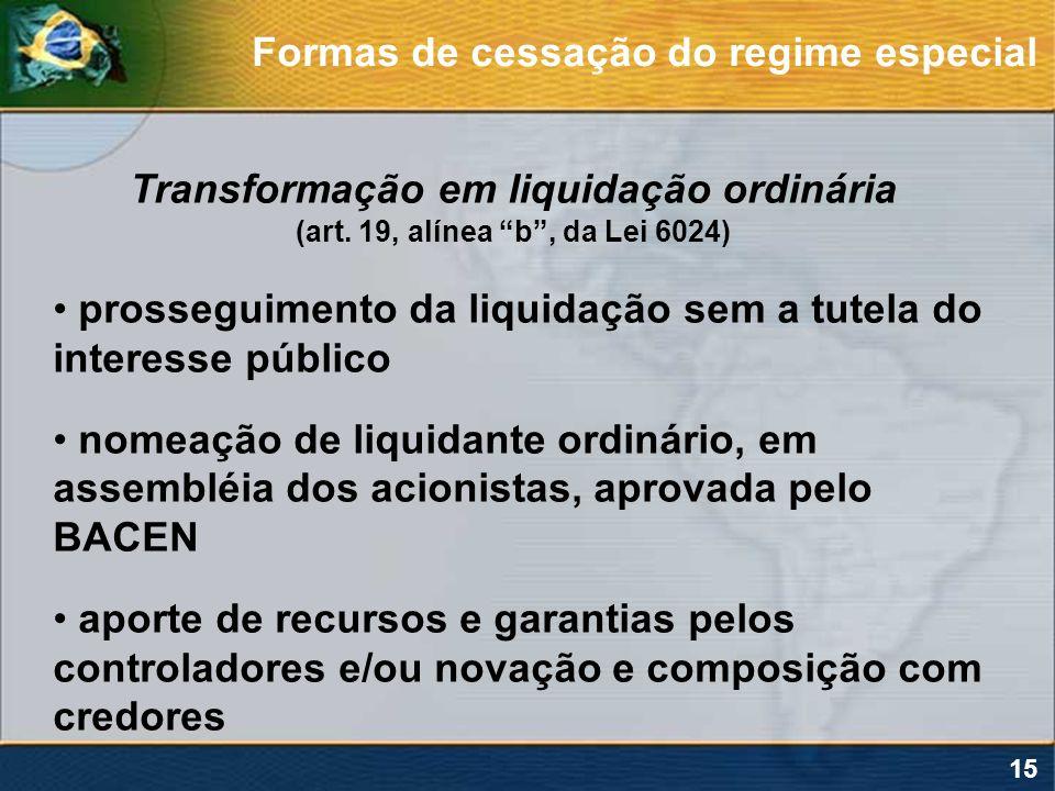 15 Transformação em liquidação ordinária (art. 19, alínea b, da Lei 6024) prosseguimento da liquidação sem a tutela do interesse público nomeação de l