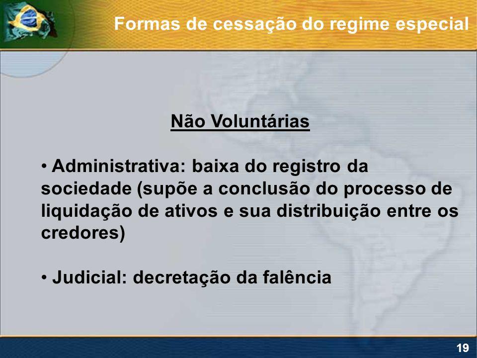 19 Não Voluntárias Administrativa: baixa do registro da sociedade (supõe a conclusão do processo de liquidação de ativos e sua distribuição entre os c