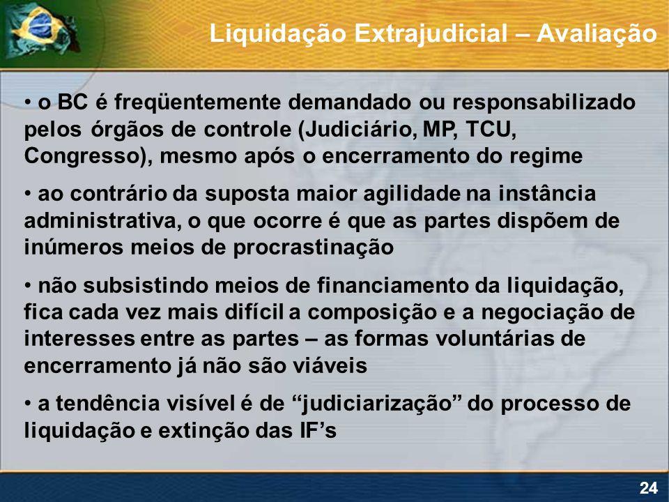 24 o BC é freqüentemente demandado ou responsabilizado pelos órgãos de controle (Judiciário, MP, TCU, Congresso), mesmo após o encerramento do regime