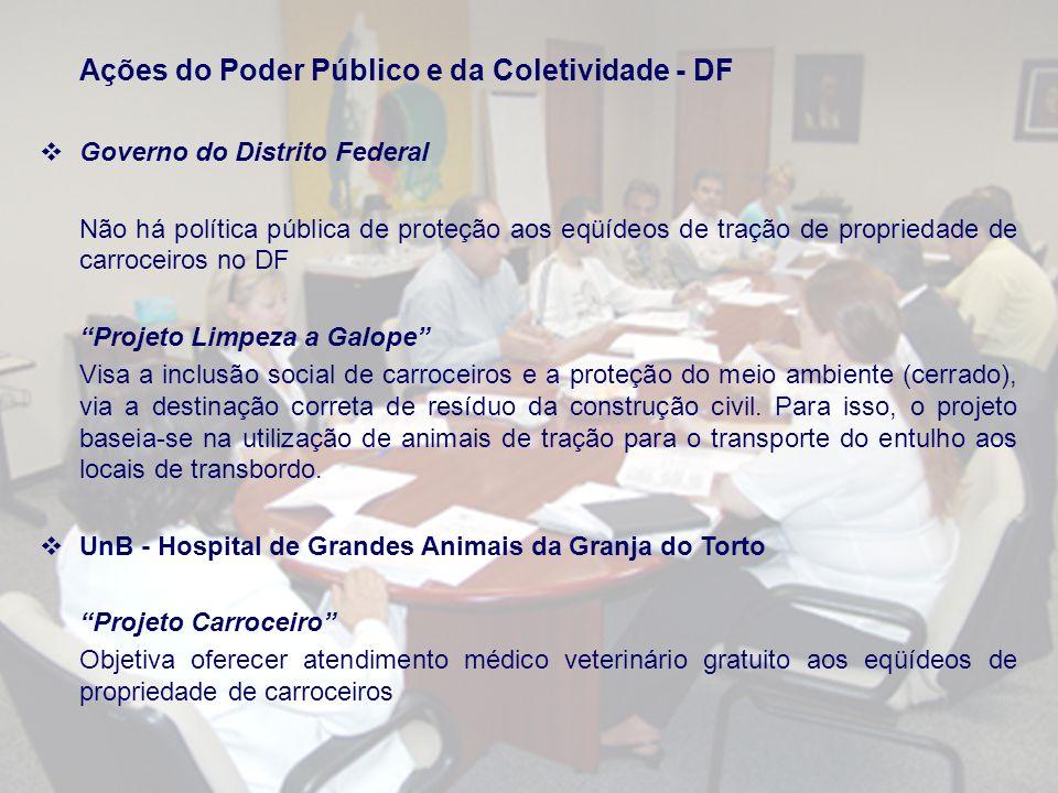 Ações do Poder Público e da Coletividade - DF Governo do Distrito Federal Não há política pública de proteção aos eqüídeos de tração de propriedade de