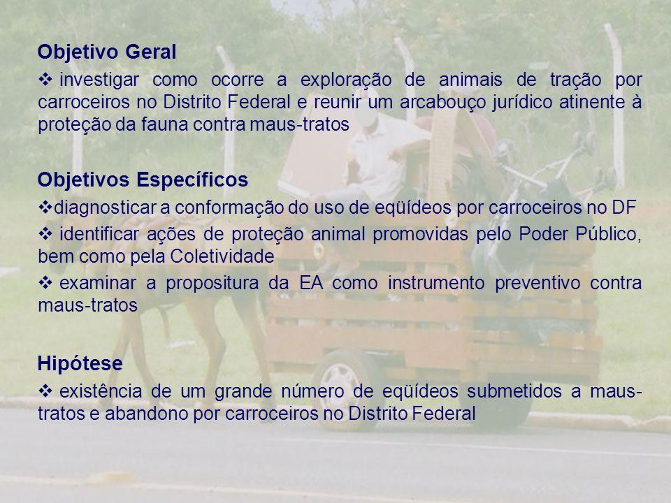 Objetivo Geral investigar como ocorre a exploração de animais de tração por carroceiros no Distrito Federal e reunir um arcabouço jurídico atinente à