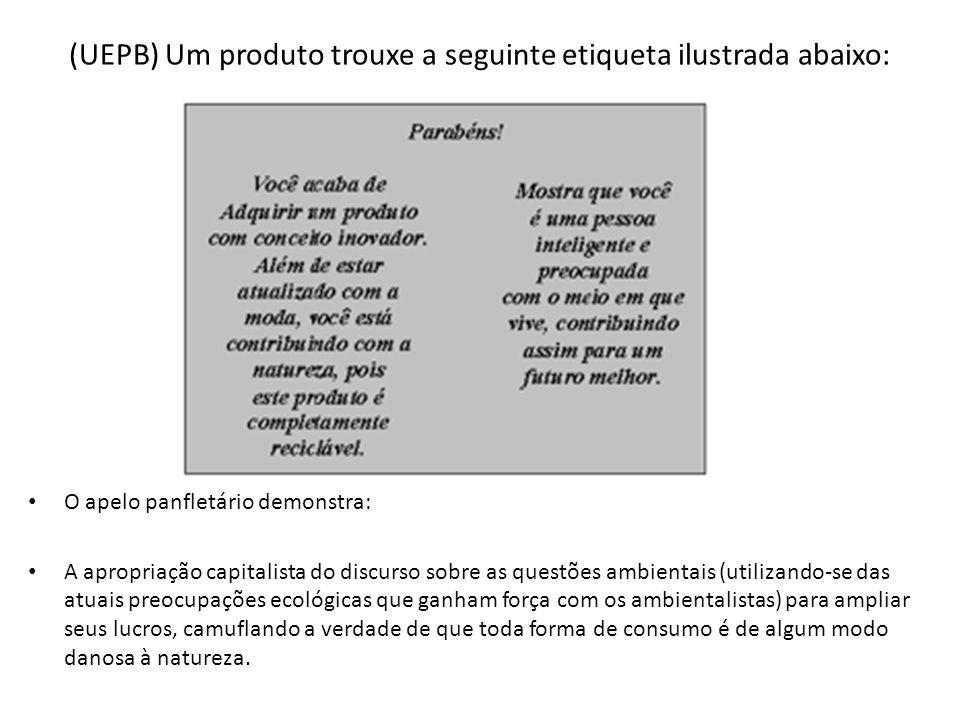 (UEPB) Um produto trouxe a seguinte etiqueta ilustrada abaixo: O apelo panfletário demonstra: A apropriação capitalista do discurso sobre as questões