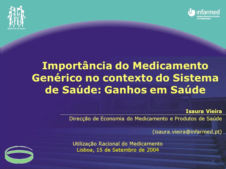 Importância do Medicamento Genérico no contexto do Sistema de Saúde: Ganhos em Saúde Isaura Vieira Direcção de Economia do Medicamento e Produtos de S