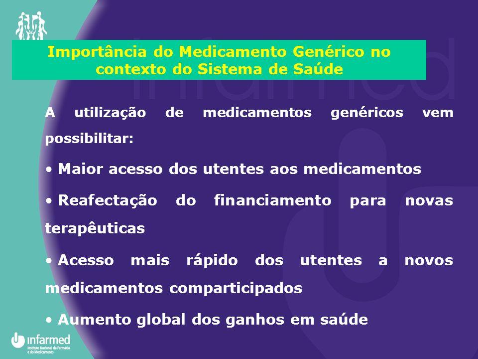 Importância do Medicamento Genérico no contexto do Sistema de Saúde A utilização de medicamentos genéricos vem possibilitar: Maior acesso dos utentes