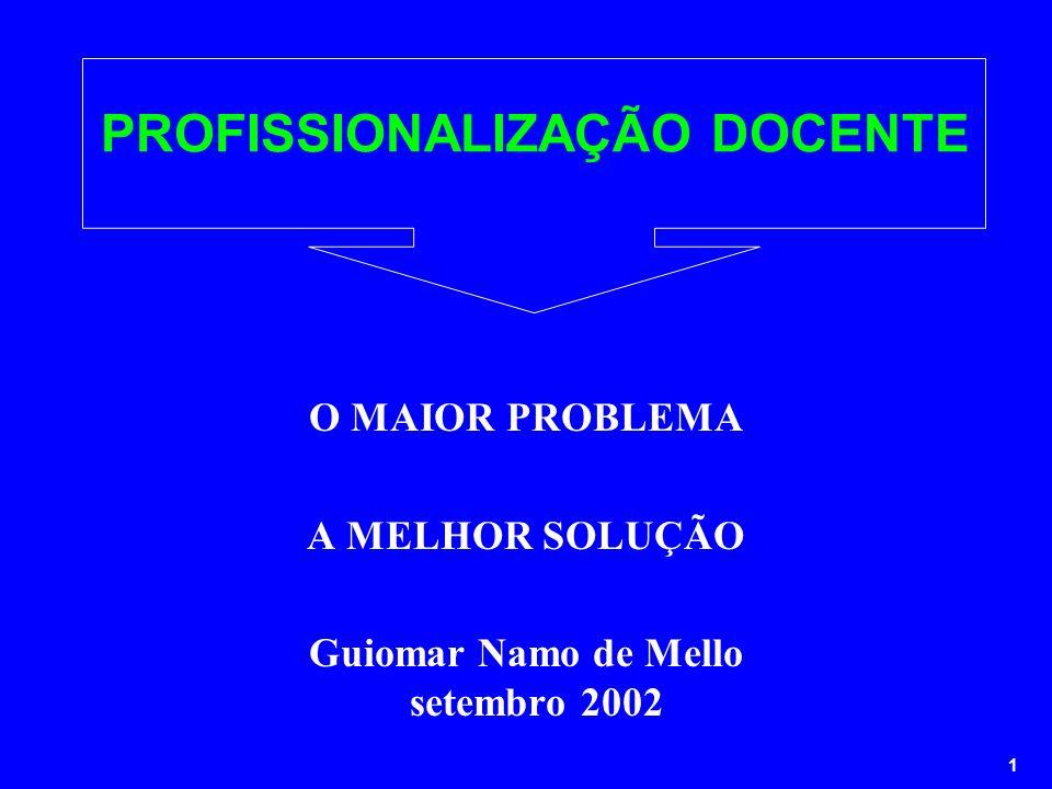 1 PROFISSIONALIZAÇÃO DOCENTE O MAIOR PROBLEMA A MELHOR SOLUÇÃO Guiomar Namo de Mello setembro 2002