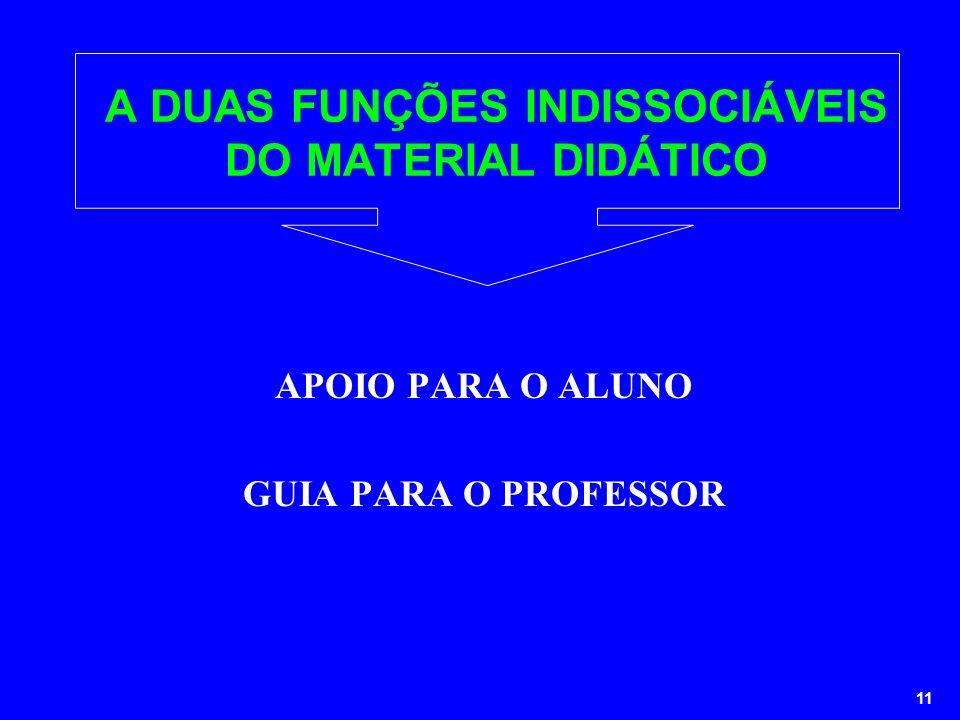 11 A DUAS FUNÇÕES INDISSOCIÁVEIS DO MATERIAL DIDÁTICO APOIO PARA O ALUNO GUIA PARA O PROFESSOR
