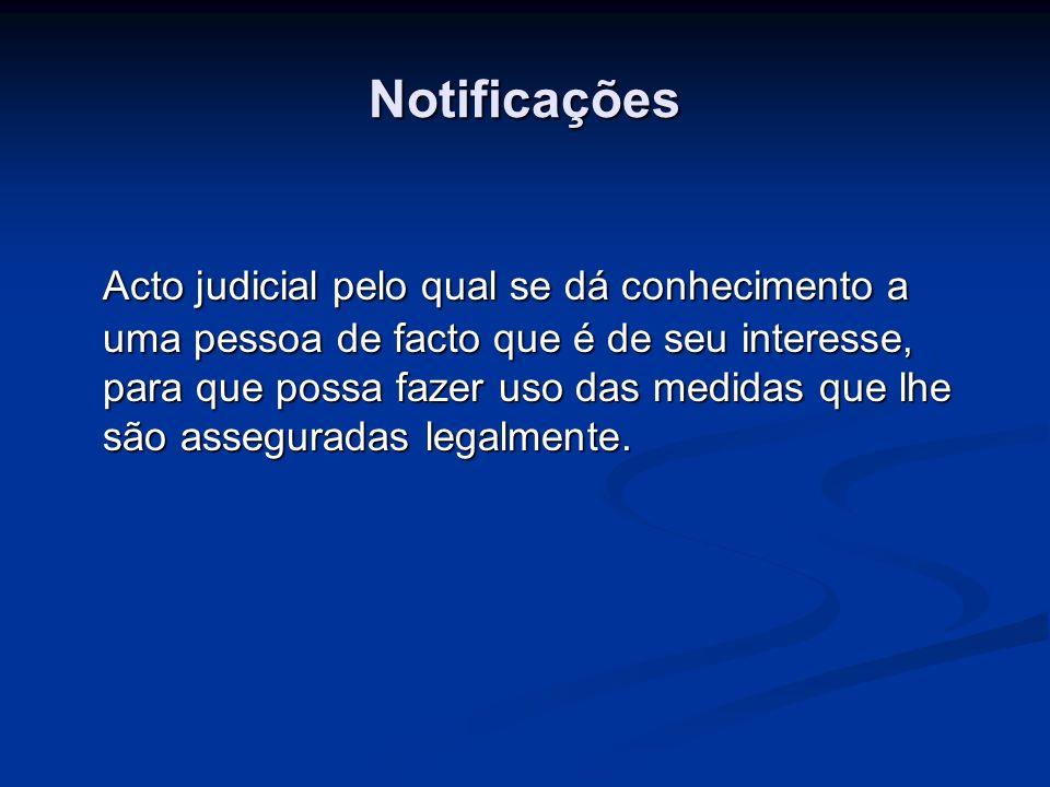 Notificações Acto judicial pelo qual se dá conhecimento a uma pessoa de facto que é de seu interesse, para que possa fazer uso das medidas que lhe são