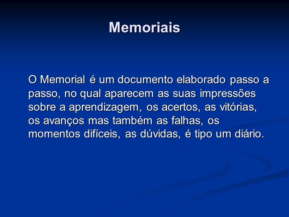 Memoriais O Memorial é um documento elaborado passo a passo, no qual aparecem as suas impressões sobre a aprendizagem, os acertos, as vitórias, os ava