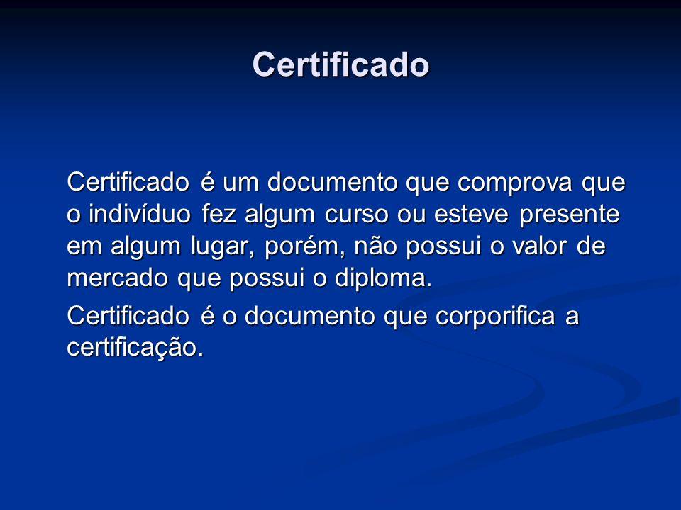 Certificado Certificado é um documento que comprova que o indivíduo fez algum curso ou esteve presente em algum lugar, porém, não possui o valor de me